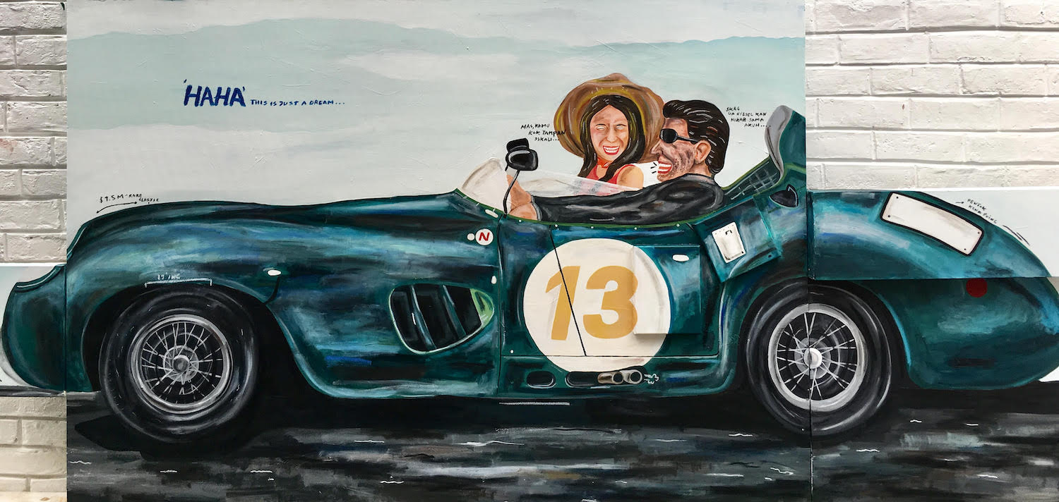 Naufal Abshar, 'My Authentic Life/Classic Car', 2019, mixed media on canvas, 120 x 200cm. Image courtesy of Art Porters.