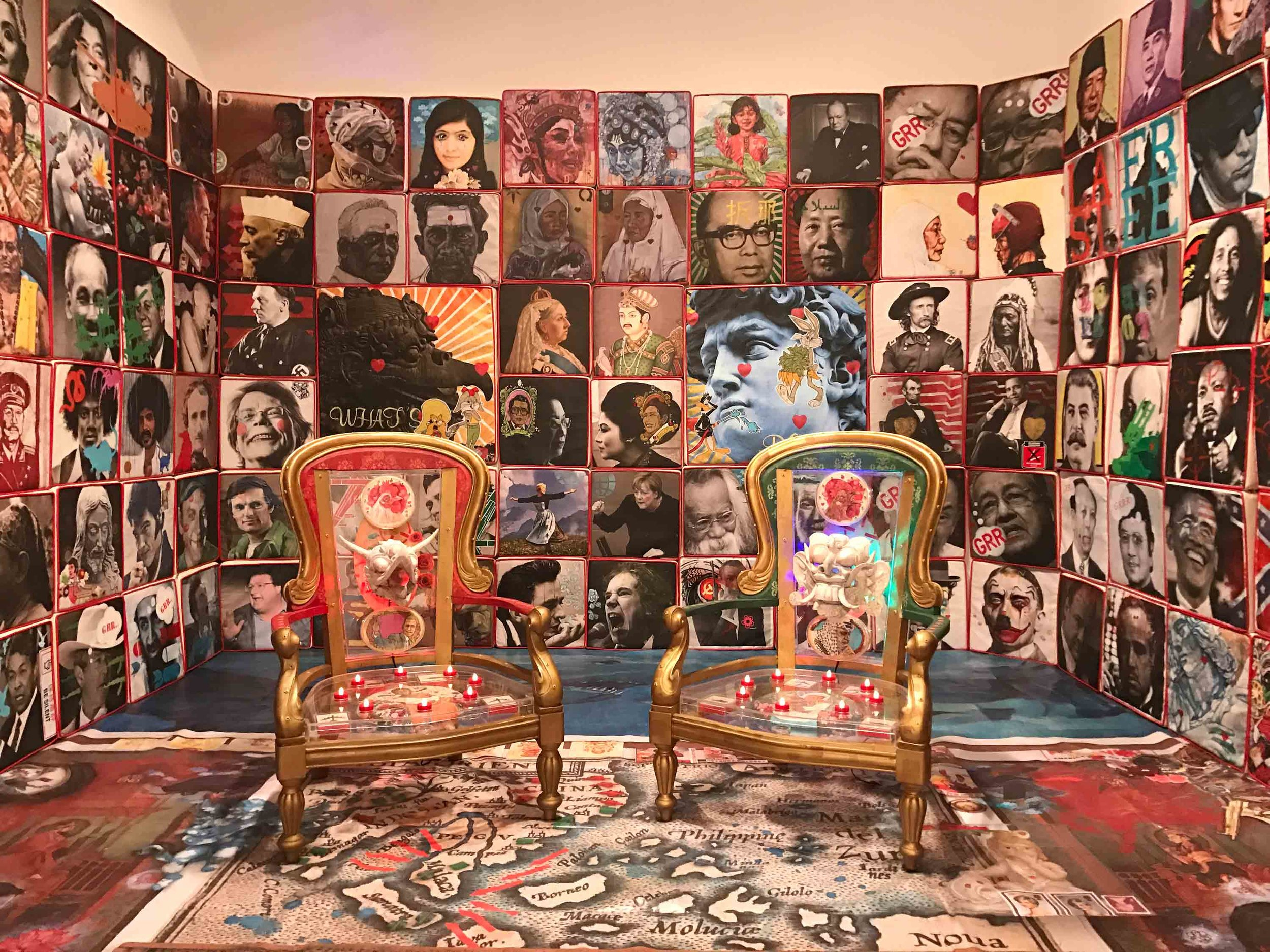 Anurendra Jegadeva, 'Yesterday, in a Padded Room', 2015, PVC cushions with printed and painted canvas, two painted thrones with perspex boxes, painted inserts and LED lights, printed floor covering on wood, dimensions variable. Image courtesy of the artist.