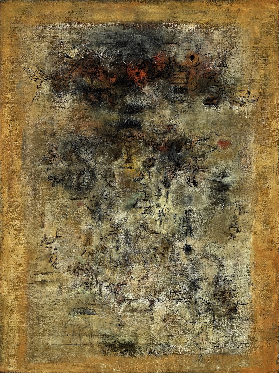 Zao Wou-Ki, 'Ailleurs', 1955, oil on canvas, 130 x 97cm. Image © Zao Wou-Ki - ProLitteris, Zurich.