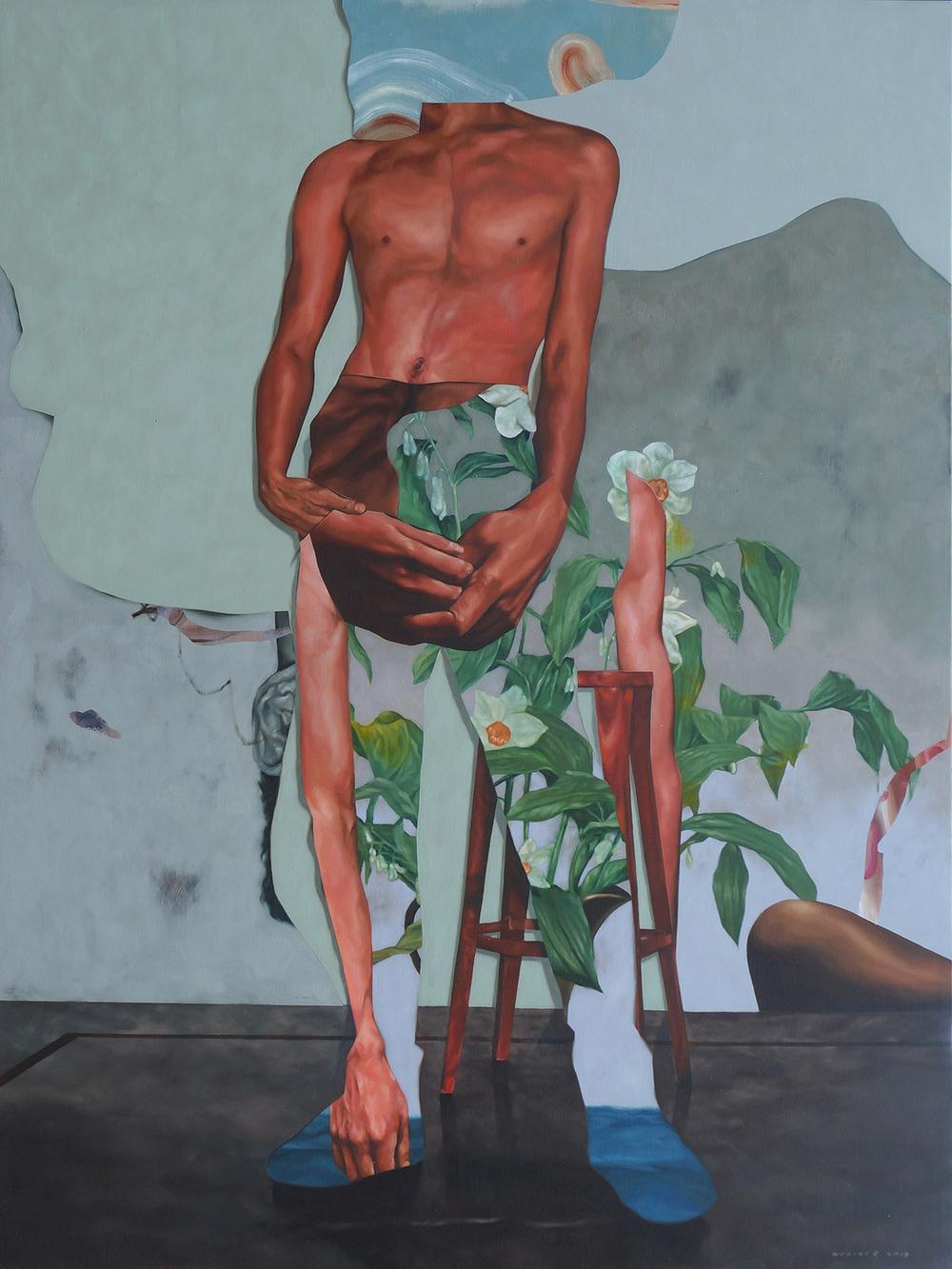 Wedhar Riyadi, 'Body Bouquet', 2019, oil on canvas, 200 x 150cm. Image courtesy of the artist and Yavuz Gallery.