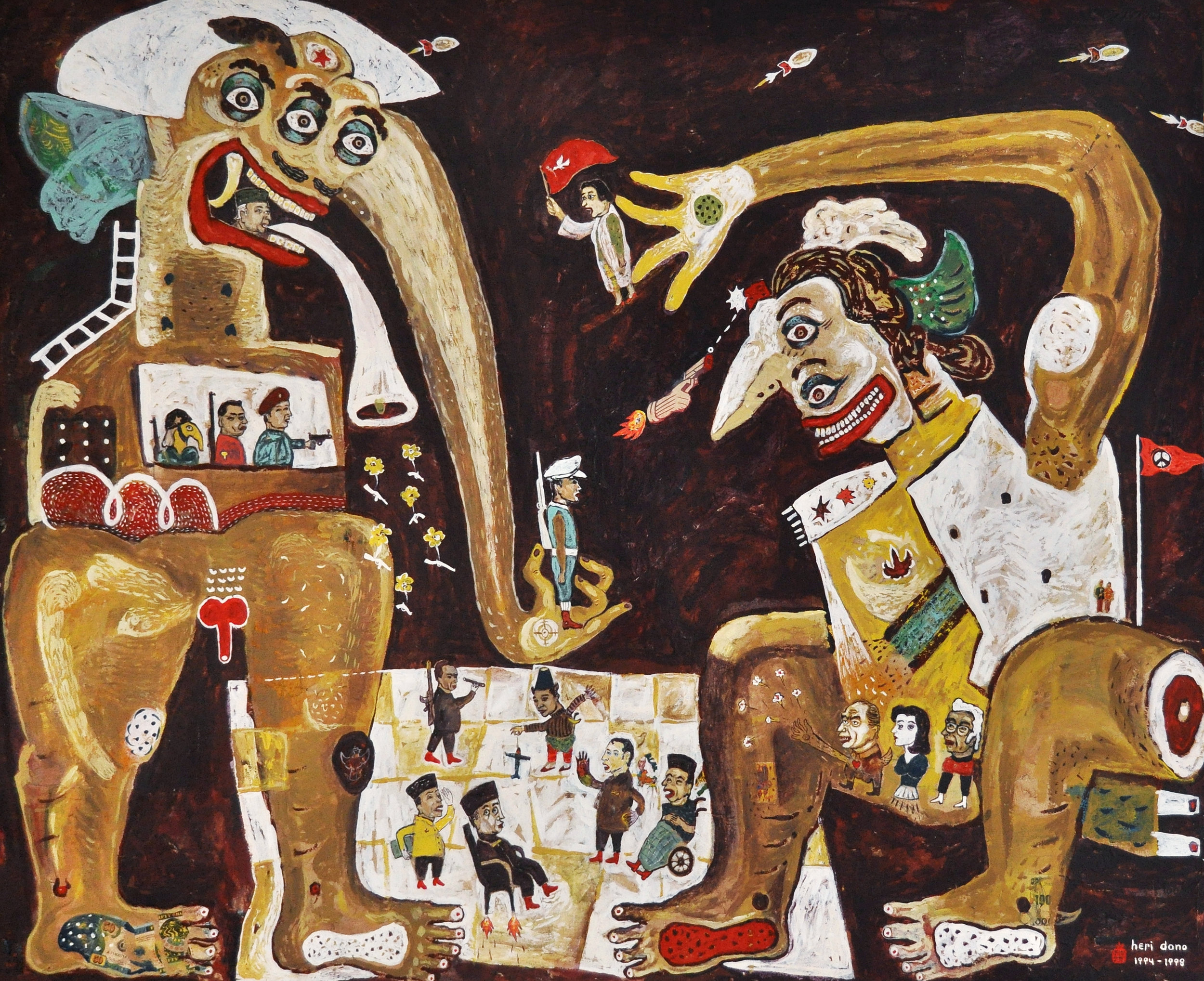 Heri Dono, 'Bermain Catur', 1994-1998, acrylic and collage on canvas, 200 x 150cm. Image courtesy of MACAN.