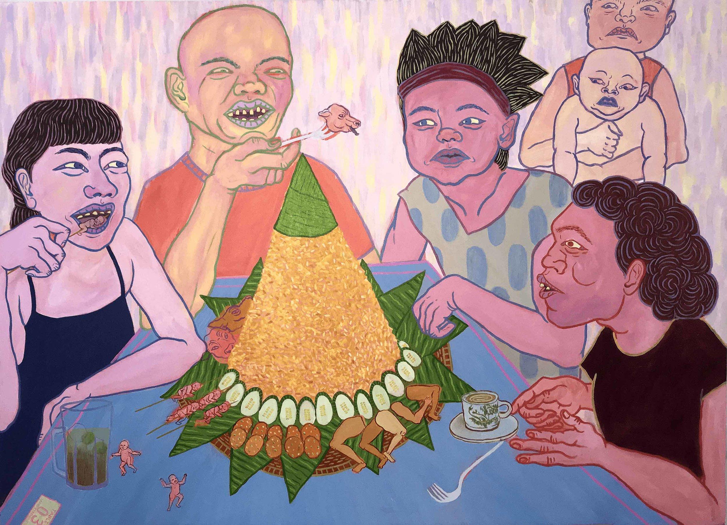 Jane Stephanny, 'Celebratory Tumpeng', 2018, acrylic on canvas, 122.5 x 168cm. Image courtesy of the artist and Suma Orientalis.