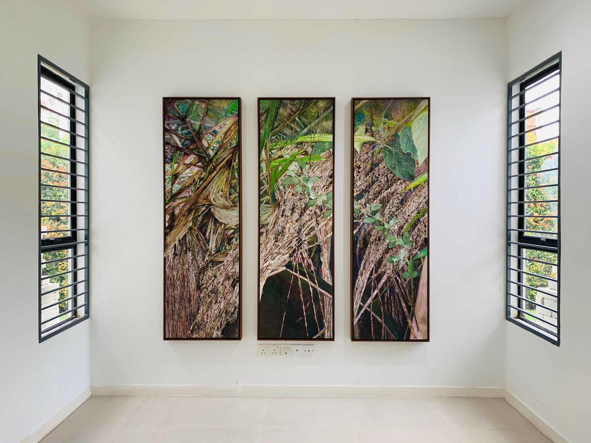 Tiong Chai Heing, 'Impermanence I', 2019, oil paint, fabric and epoxy on canvas, 3 panels, 180x 55cm each. Image courtesy of the artist and Suma Orientalis.