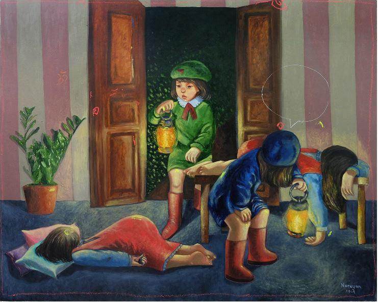 Aiya Balingit, 'Rescue the Sleepless Sleep', 2019, oil on canvas, 152.5 x 122cm. Image courtesy of BenCab Museum.