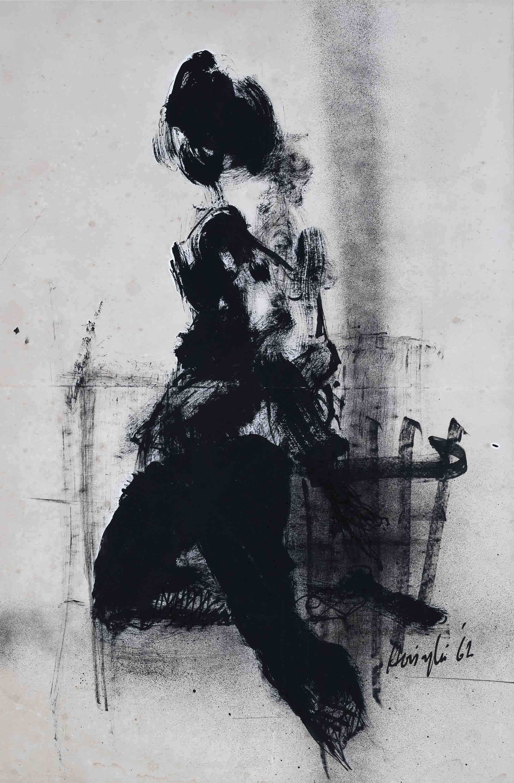 Vincent Hoisington, 'Untitled', 1962, charcoal on paper, 73 x 47.5cm. Private collection, Singapore. Image courtesy of Art Agenda, S.E.A.
