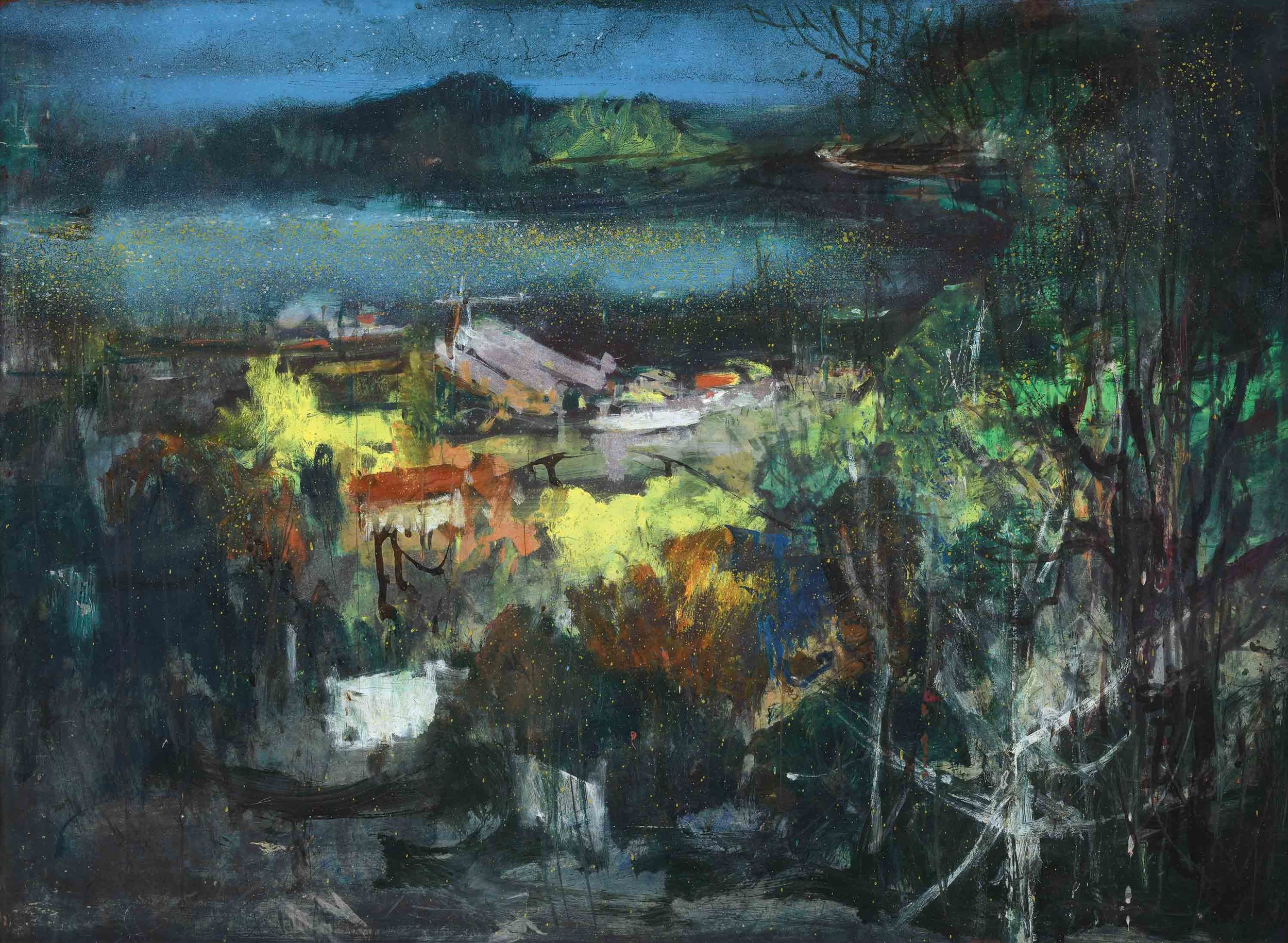 Vincent Hoisington, 'St. George/ Keppel Harbour', undated, mixed media on board, 78 x 106cm. Collection of the artist's family. Image courtesy of Art Agenda, S.E.A.