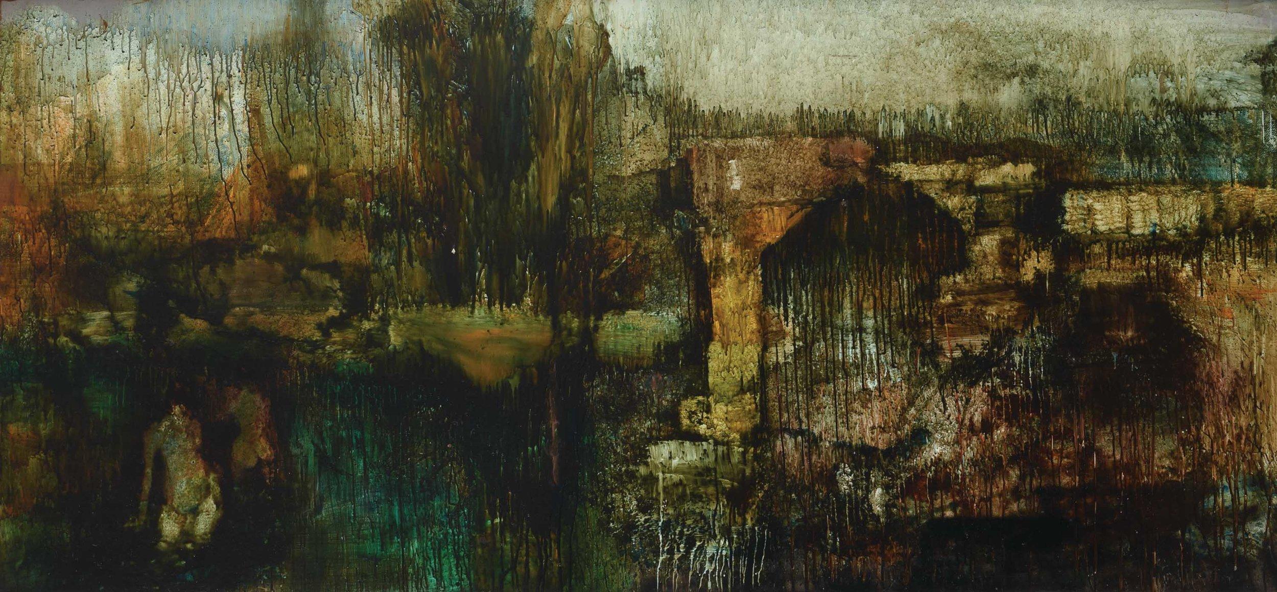 'Untitled (Capriccio II)', undated, oil on board, 130 x 290cm. Image courtesy of Art Agenda, S.E.A.