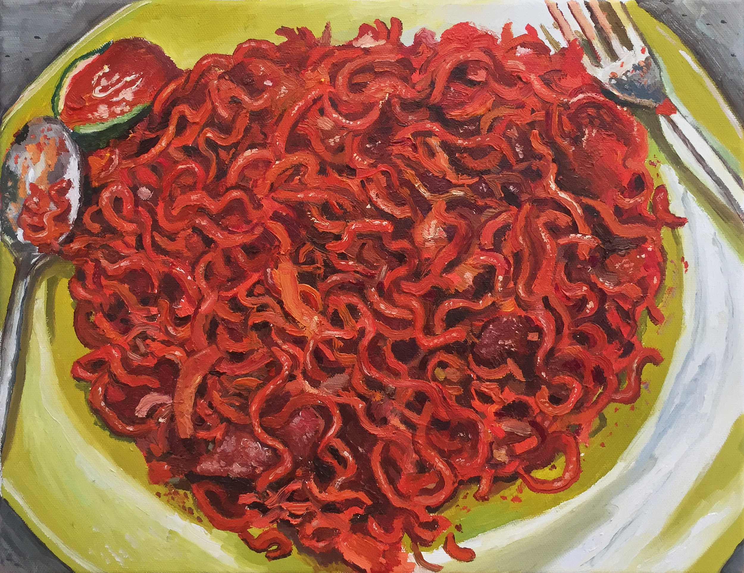 Yeo Tze Yang, 'Maggi Goreng', 2018, oil on canvas, 30.5 x 41cm. Image courtesy of the artist and iPreciation.