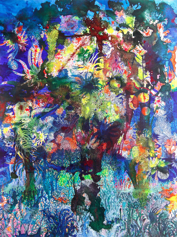 Entang Wiharso, 'Evolution: Floating Garden Series #1', 2016, acrylic, glitter and India ink on canvas, 285 x 200 cm. Image courtesy of ASEAN Gallery.