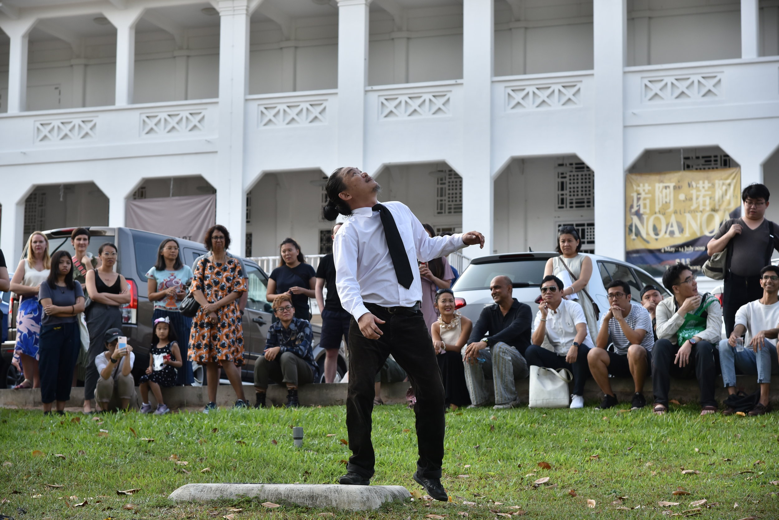 Jeremy Hiah performing 'Coward' at Gillman Barracks on 27 July 2019. Image courtesy of the artist and Chan + Hori Contemporary.