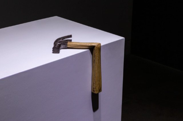 Phornphop Sittiruk, 'Sometimes You Can be Weak', 2018, wood and steel sculpture, 13.5 x 18 x 21.5cm. Image courtesy of A+ Works of Art.