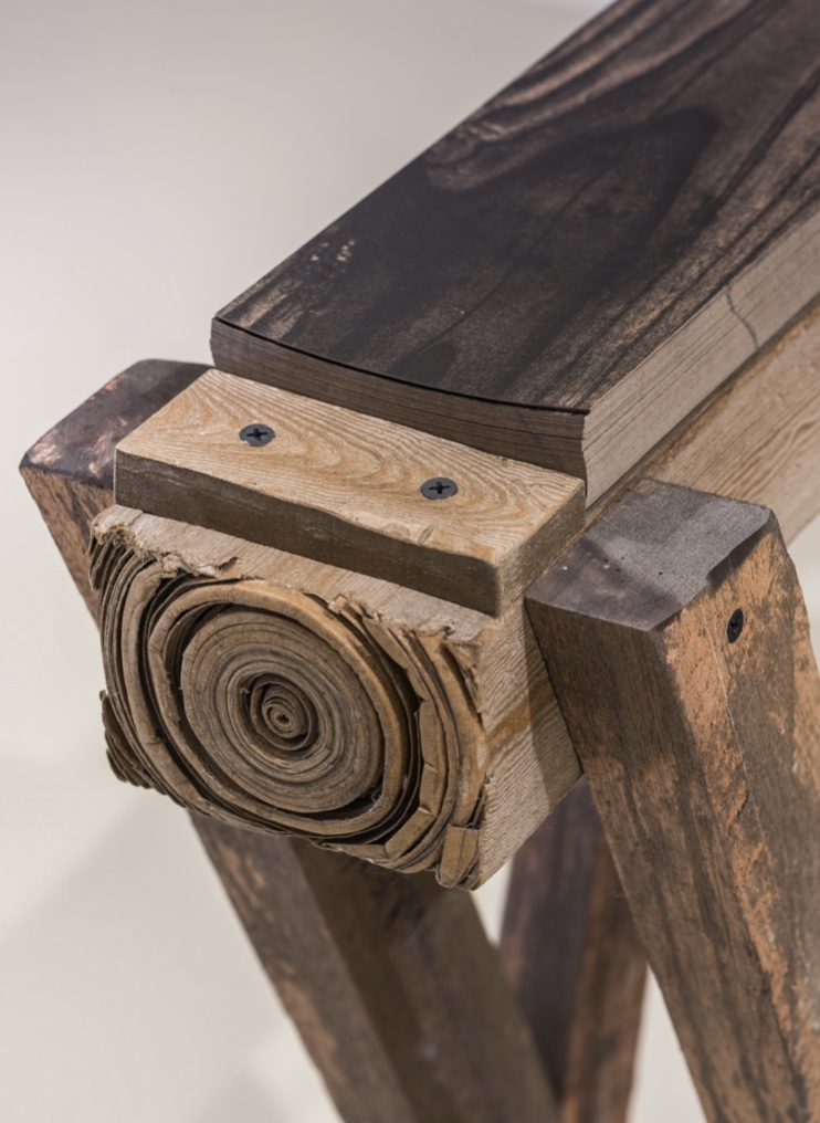 Irfan Hendrian, 'Temporary Matter: Sawhorse', 2019, sculpted paper and reclaimed wood, 40 x 120 x 70cm. Image courtesy of Hermès.
