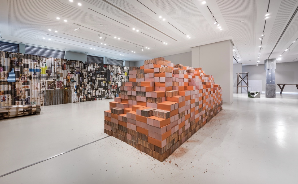 Irfan Hendrian, 'Tropical Ephemerality: Brick Wall', books and bricks, variable dimensions, 2019. Image courtesy of Hermès.