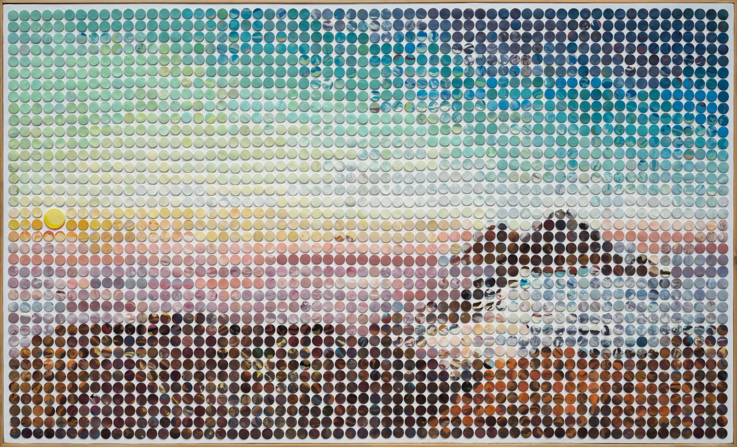 Dini Nur Aghnia, 'Sunrise at Prau', 2018, flour clay on canvas board, 200 x 120cm. Image courtesy of Gajah Gallery.