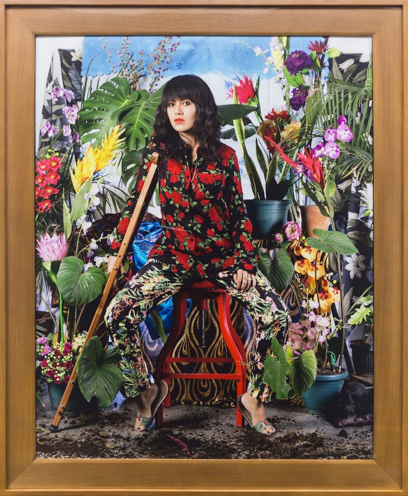 """Wawi Navarroza, '""""I Want To Live A Thousand More Years"""" (Self-Portrait After Dengue, with tropical plants and fake flowers)', 2016, archival pigment print, 127 x 101.6cm. Image courtesy of Silverlens."""