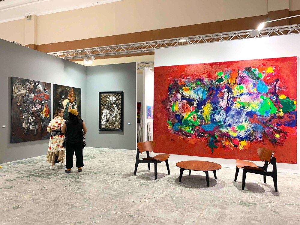 Can's Gallery, featuring works by Entang Wiharso, Eddie Hara, J. A. Pramuhendra, Arkiv Vilmansa, Oky Rey Montha and Muklay. Image courtesy of Can's Gallery.