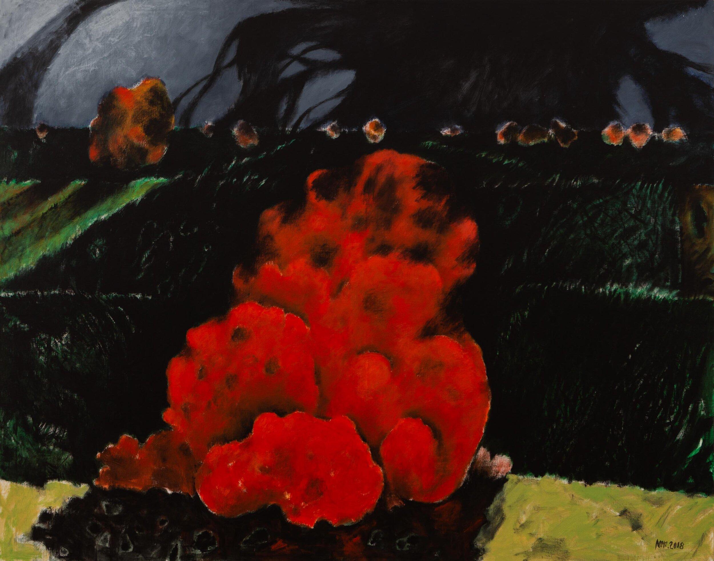 Niti Wattuya, 'Cadmium Red', 2018, acrylic on canvas, 144.5 x 184.7cm. Photograph by Krisada Suvichakornpong.