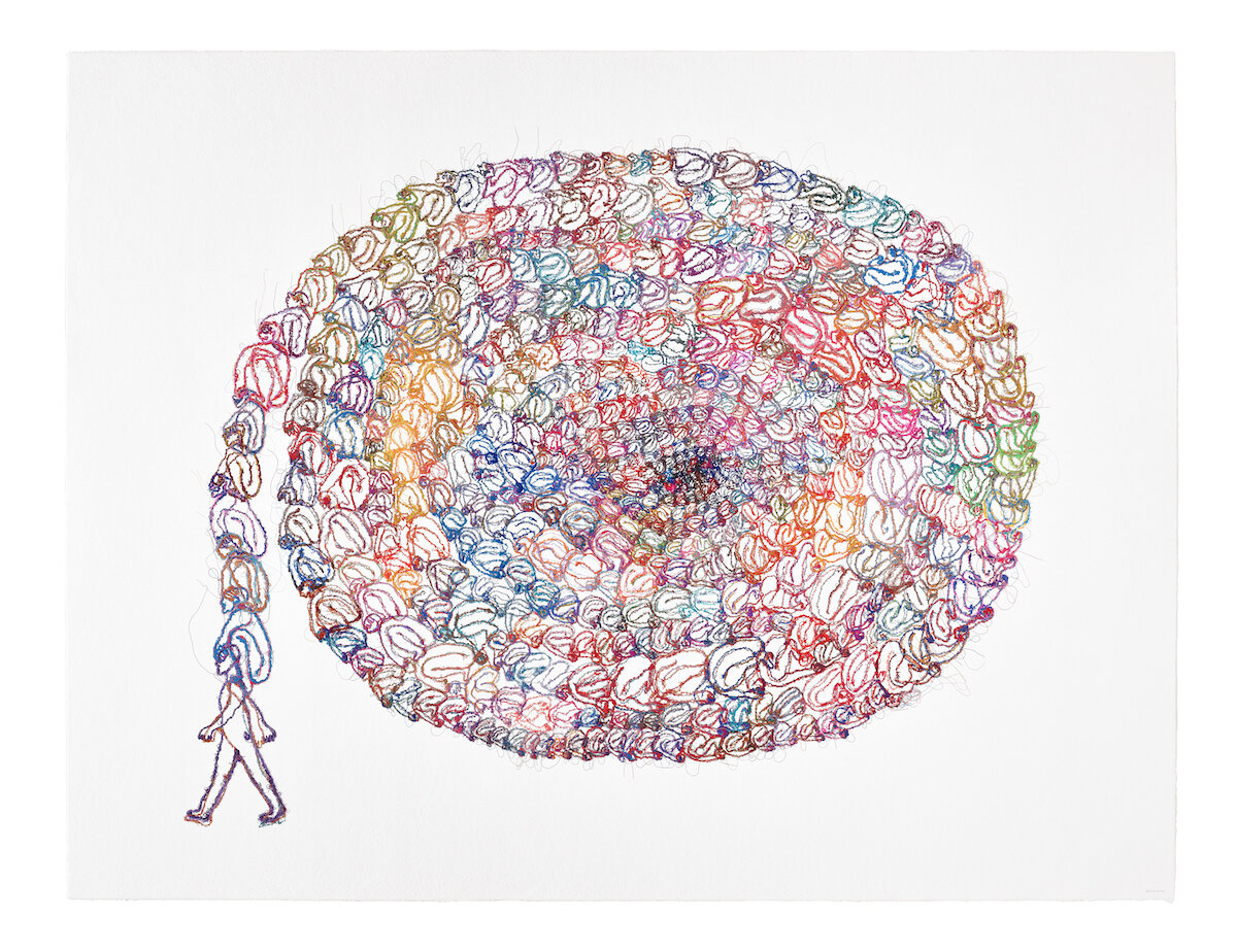 Do Ho Suh, 'Wise Man', 2019, thread embedded in STPI handmade cotton paper, 157.5 x 206 cm. Produced at STPI – Creative Workshop & Gallery, Singapore. Image courtesy of STPI.