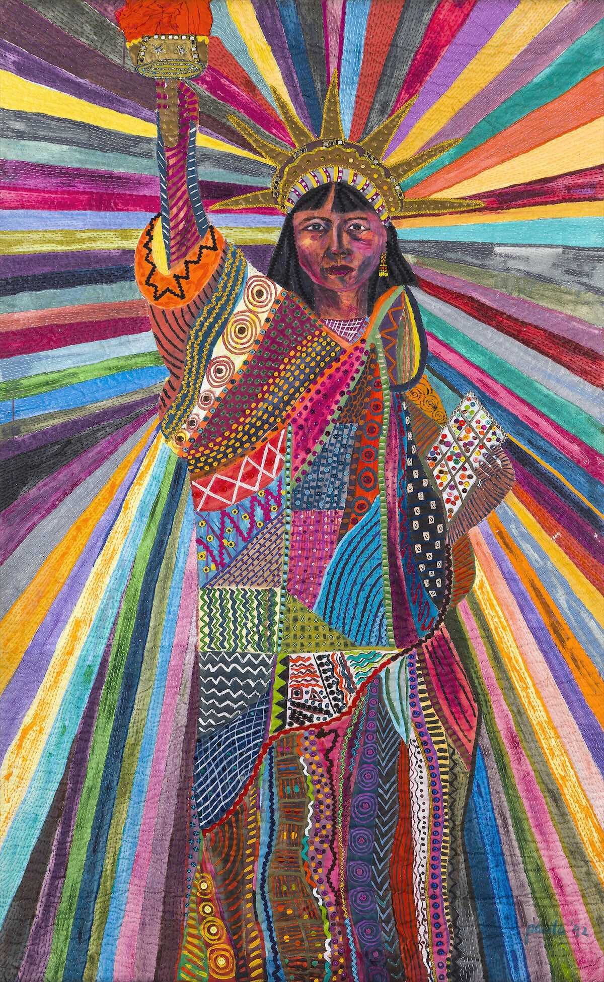 Pacita Abad, 'L.A. Liberty', 1992, acrylic, cotton yam, plastic buttons, mirrors, old thread, painted cloth on stitched and padded canvas. 239 x 147cm. Image courtesy of Estate of Pacita Abad.