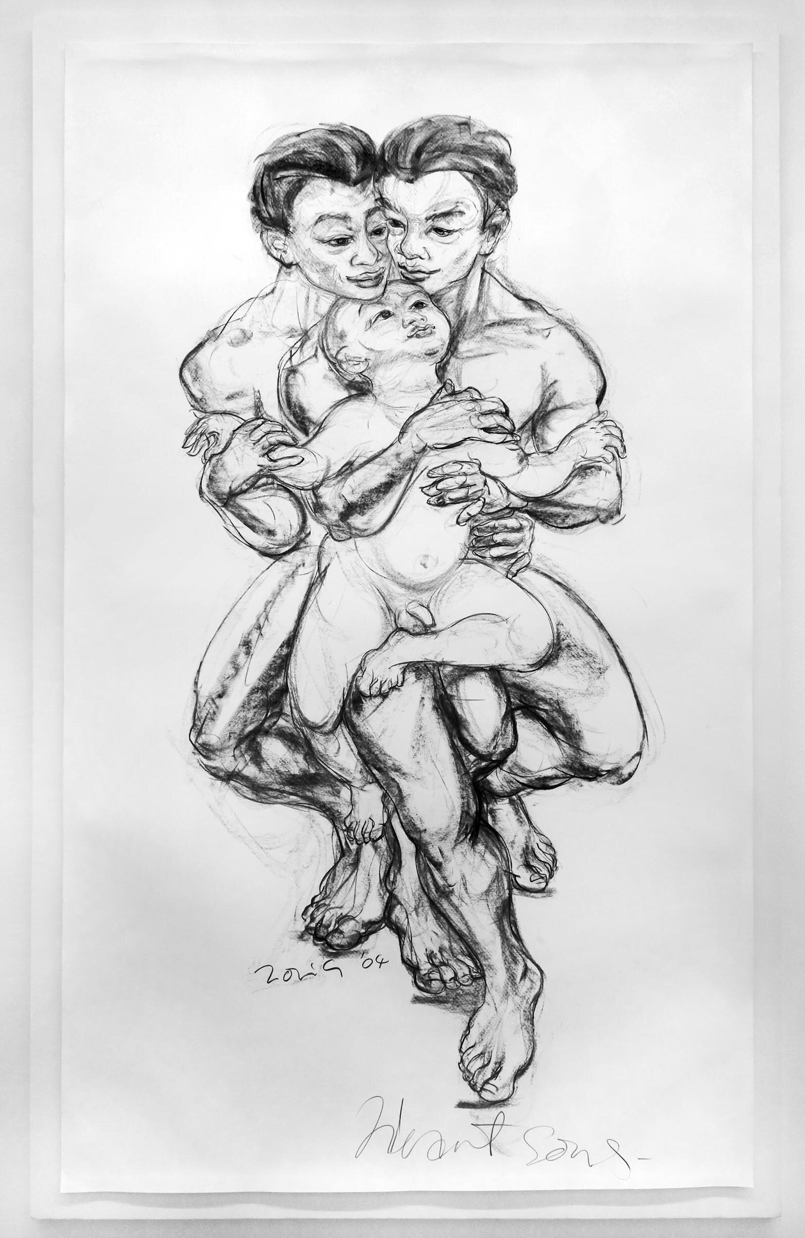 Jimmy Ong, 'Heart Sons', 2004, charcoal on paper, 216 x 126cm. Image courtesy of the artist and FOST Gallery.