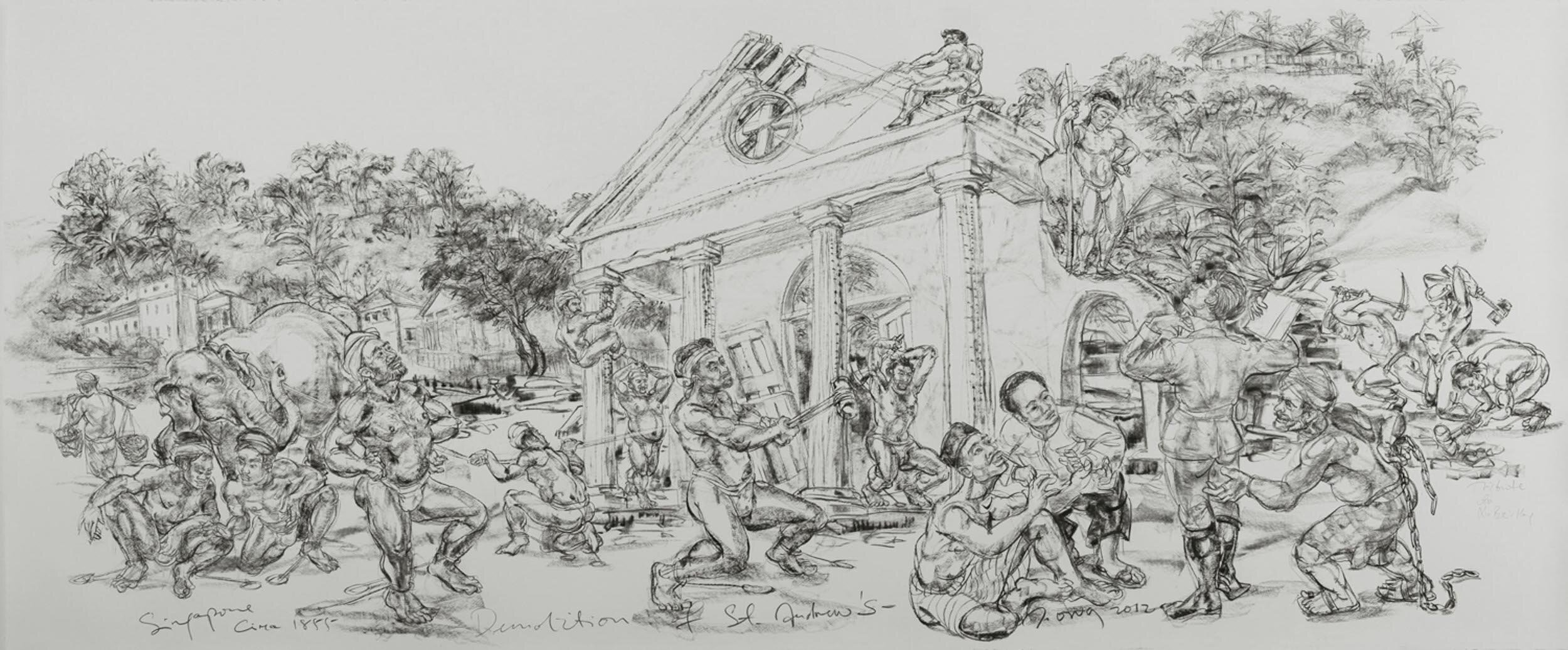 Jimmy Ong, 'Demolition of St Andrew's', 2012, charcoal on paper, 128.5 x 309cm. Image courtesy of the artist and FOST Gallery.