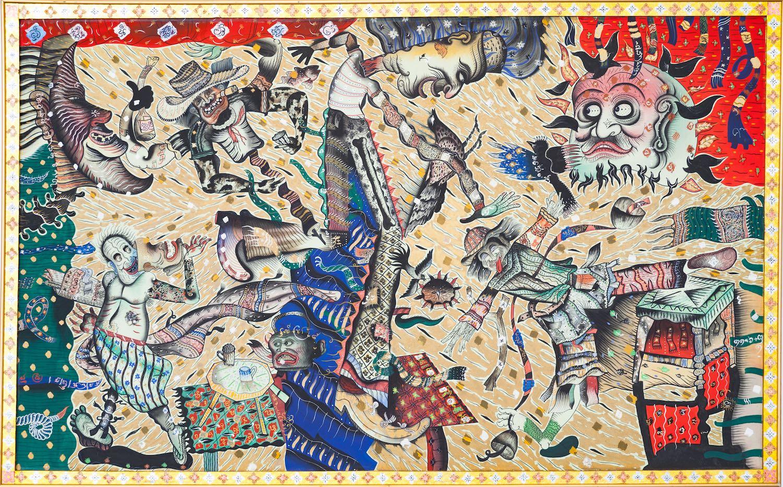 Prasong Luemuang, 'Festival', 1988, tempera on canvas, 170 x 240cm. Image courtesy of Bangkok Art and Culture Centre.