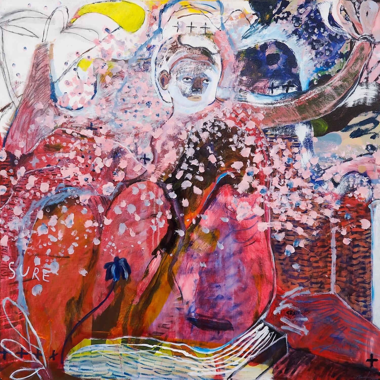 Natisa Jones, 'Unfamiliar Visits', 2019, acrylic on canvas, 100 x 100cm. Image courtesy of G13 Gallery.