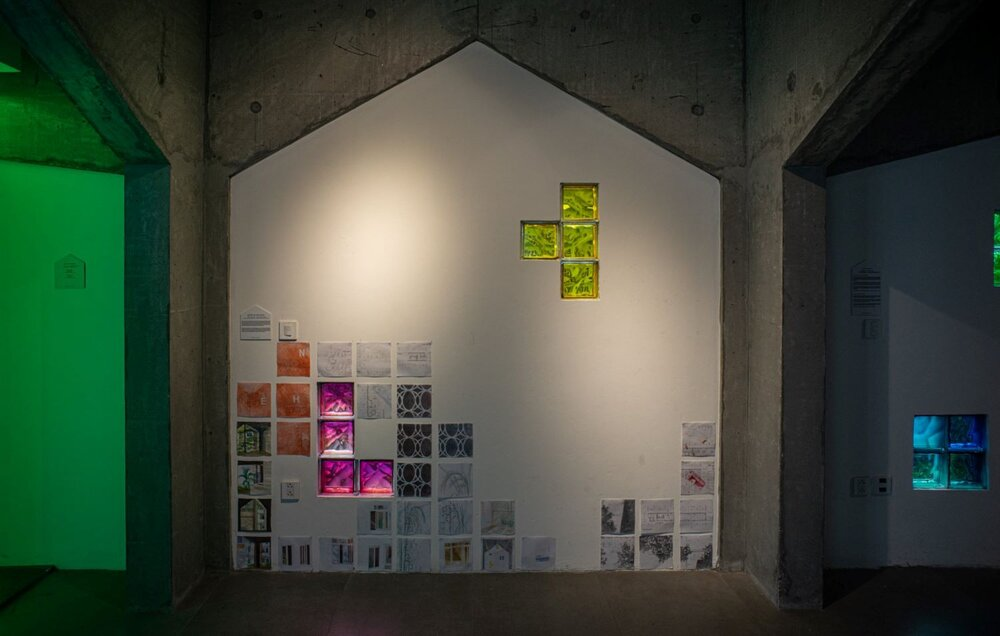 Nguyễn Thị Hoài Giang, 'Make Yourself At Home', 2020, sketches on architectural drawings. Image courtesy of the artist-curator Nguyến Thế Sơn.