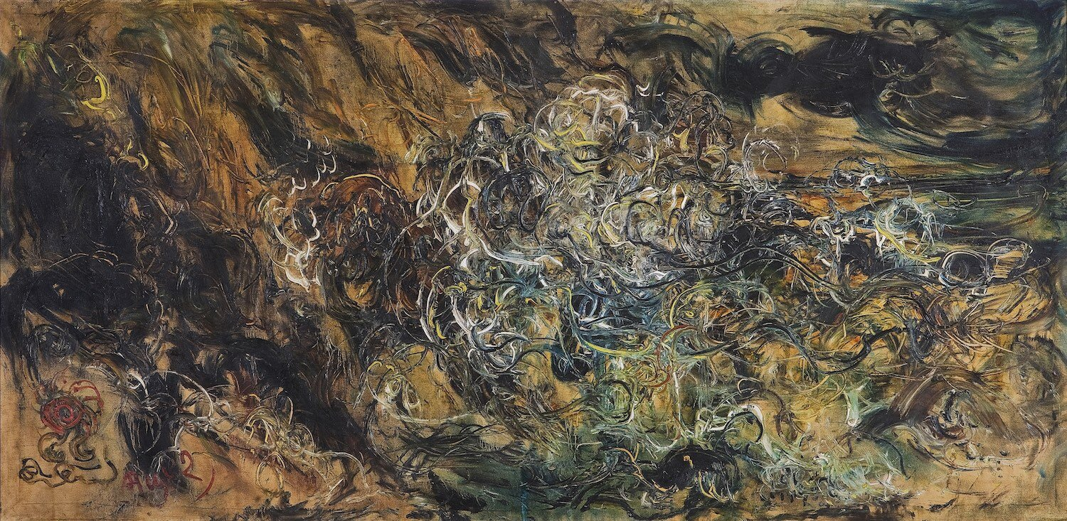 Affandi, 'At the Beach', 1982, oil on canvas, 121 x 240cm. Image courtesy of Art Agenda, S.E.A.