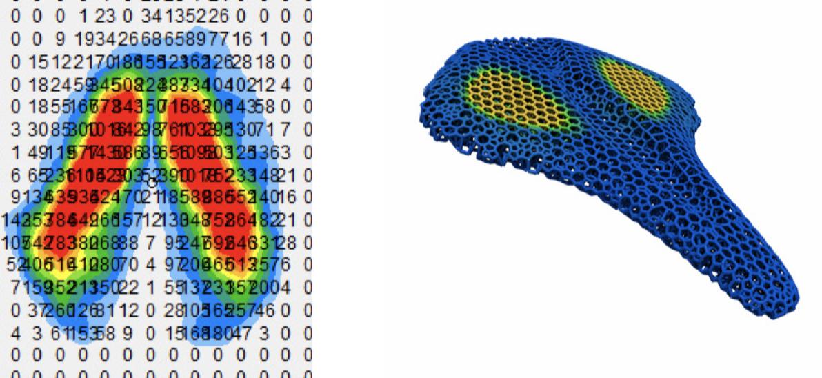 Mapa pritiska na sjedalo te render sjedalice s pojačanom zonom udobnosti. Izvor: Carbon