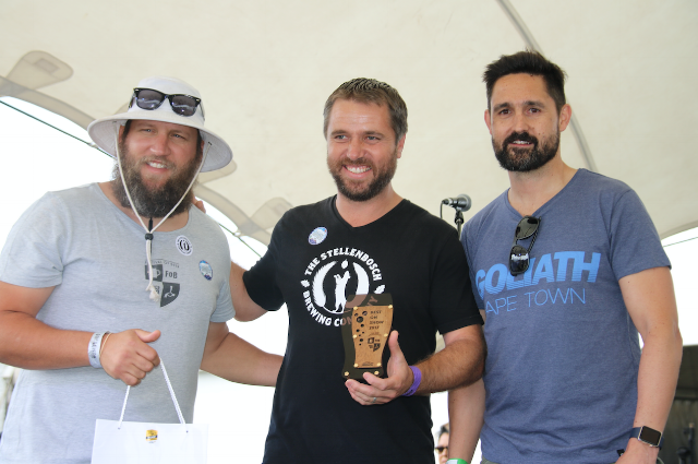 2017 Best on Show Winner Bruce Collins from the Stellenbosch Brewing Co with Festival Founder Martin Tucker and MCC Marketing Manager Warren Blair.
