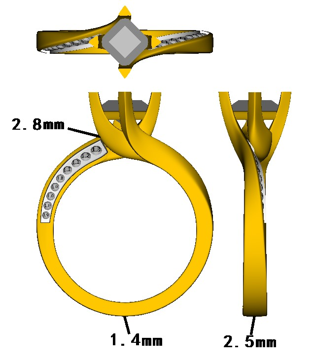 This second CAD was created in order to thin down the shoulders on the original design and a rail was added to the gallery, in order to help secure the diamond.