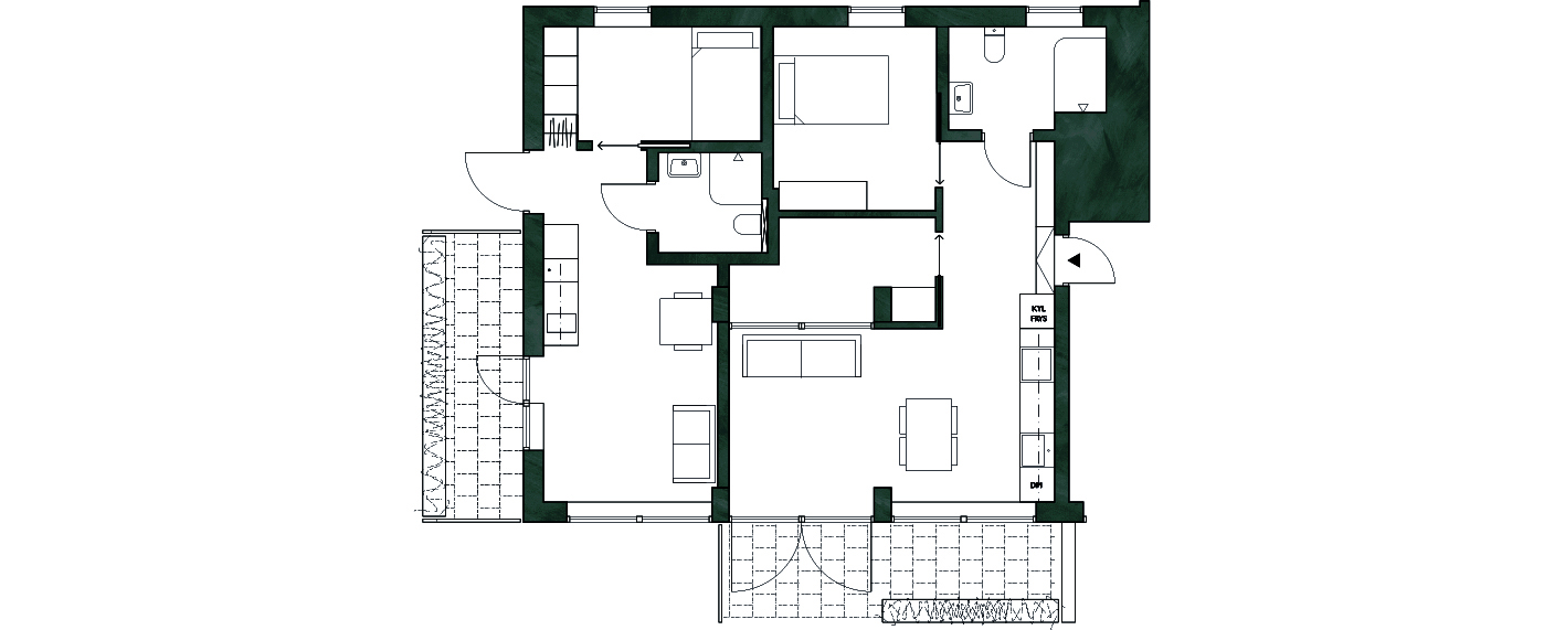 - En råyta på 75kvm byggs om till två effektiva lägenheter på 28 och 45 kvadratmeter. Båda bostäderna får en uteplats om nio kvadratmeter och fastigheten får en ny utbyggnad för cykelförvaring.