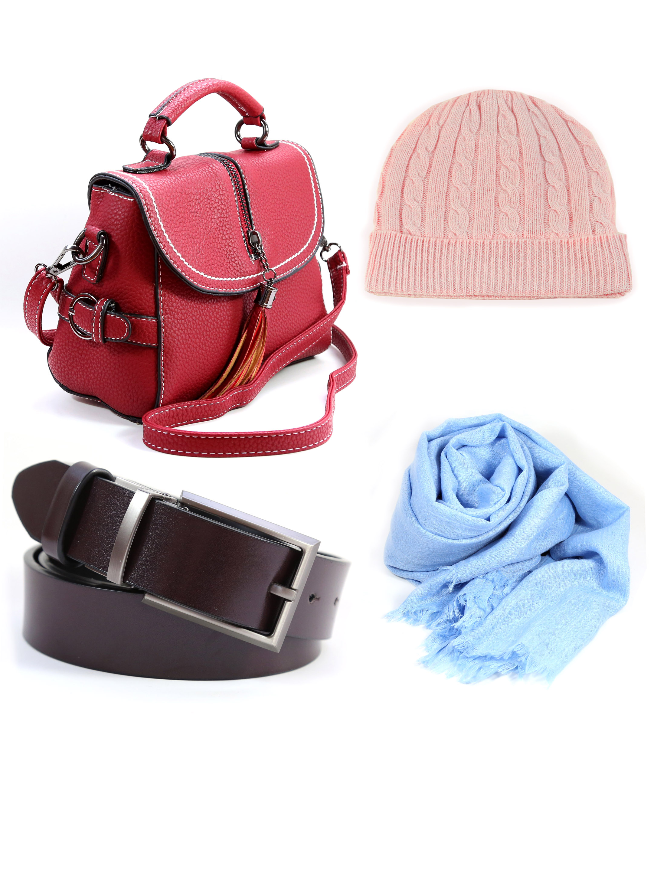 Accessories - With every good jacket you need a good accessories.Cashmere and Bamboo Scarfs, leather belts and handbags.