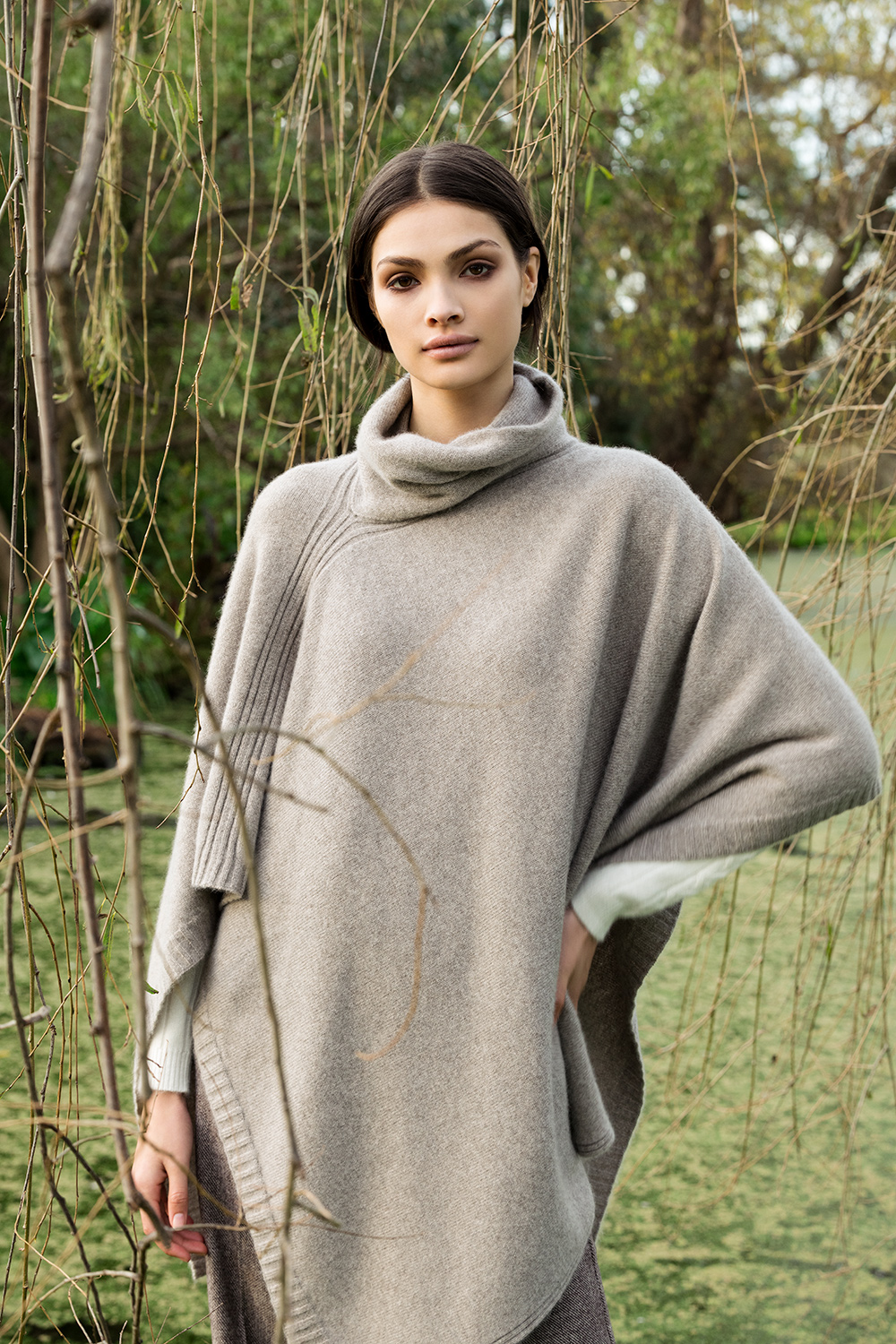 Long Baby Cashmere Poncho