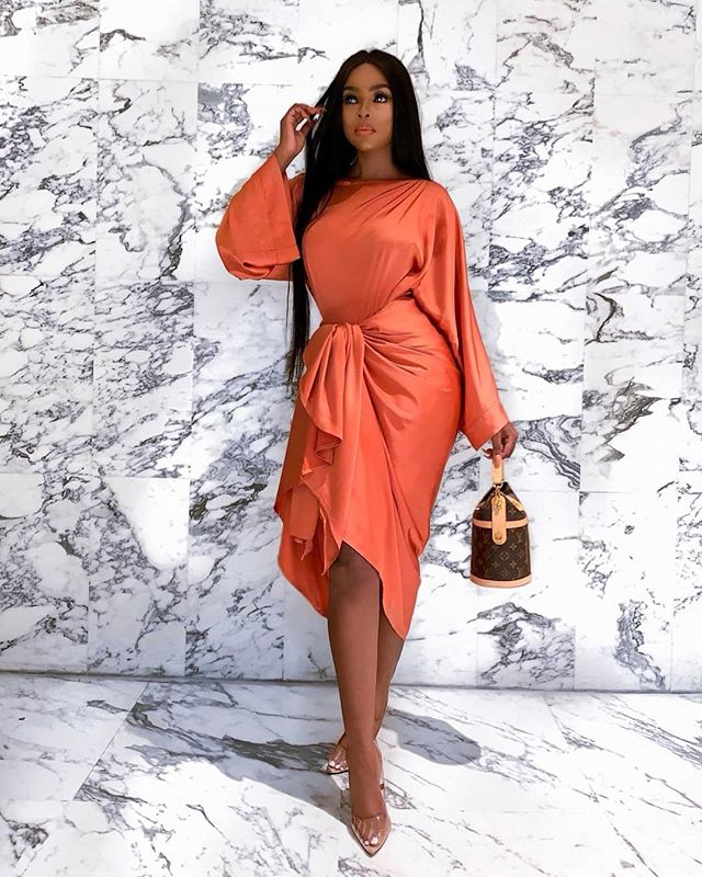 @julitha.kabete killing it in our new shade!  #silkknot #dress #knotdress #silkdress
