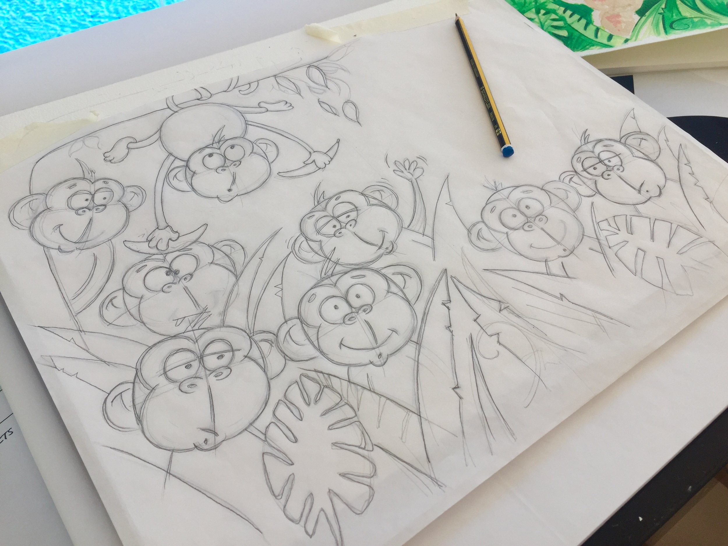 Monkeys in the jungle   My most favourite thing to draw!