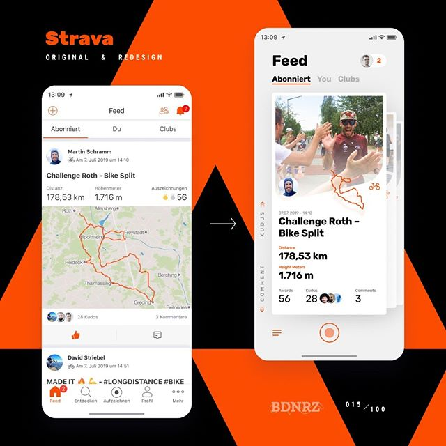 @schramm.bo you're a beast! Finishing an #ironman with a 😄 on your face... crazy! Here's a @strava #redesign with you as hero 💪  015 / 100 – Check my 🏀 @dribbble profile https://dribbble.com/bdnrzio for more redesigns and mobile #uidesign  #designchallenge #redesign #mobile #flutter #ios #android #figma #crossplatform #multiplatform #appdesign #materialdesign