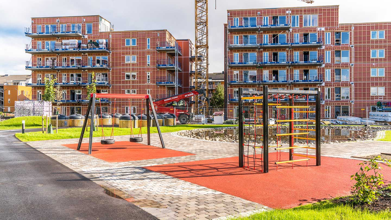 Jessheim Hageby  Til boligprosjektet på 4 blokker sentralt på Jessheim leverer vi ca. 5000 m2 klimavegg. Hovedentreprenør er ØM Fjeld AS.