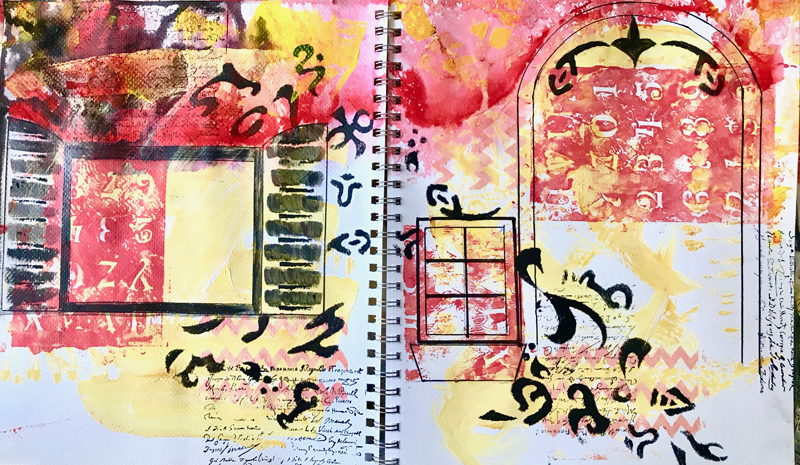 Teachers arrive when we need them. My initial explorations of visual reflection came from Shelley Klammer at  EXPRESSIVE ART WORKSHOPS . I highly recommend her course, 100 Days of Art Journal Therapy for its thoroughness in bringing out stories hidden by emotional blocks.