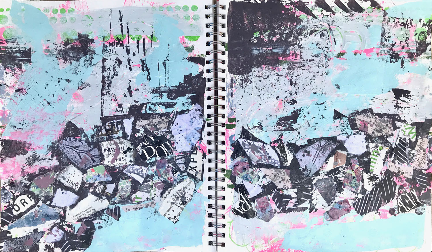 Abstract wall collage. Blue, pink, black.