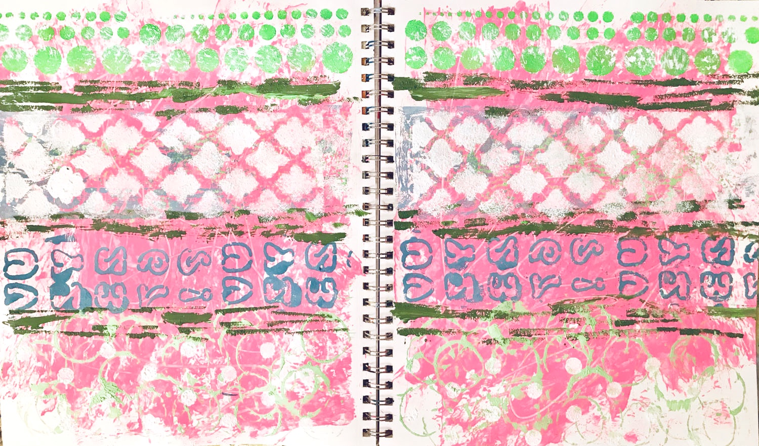 Art Journal Background Layer. Pink and green.