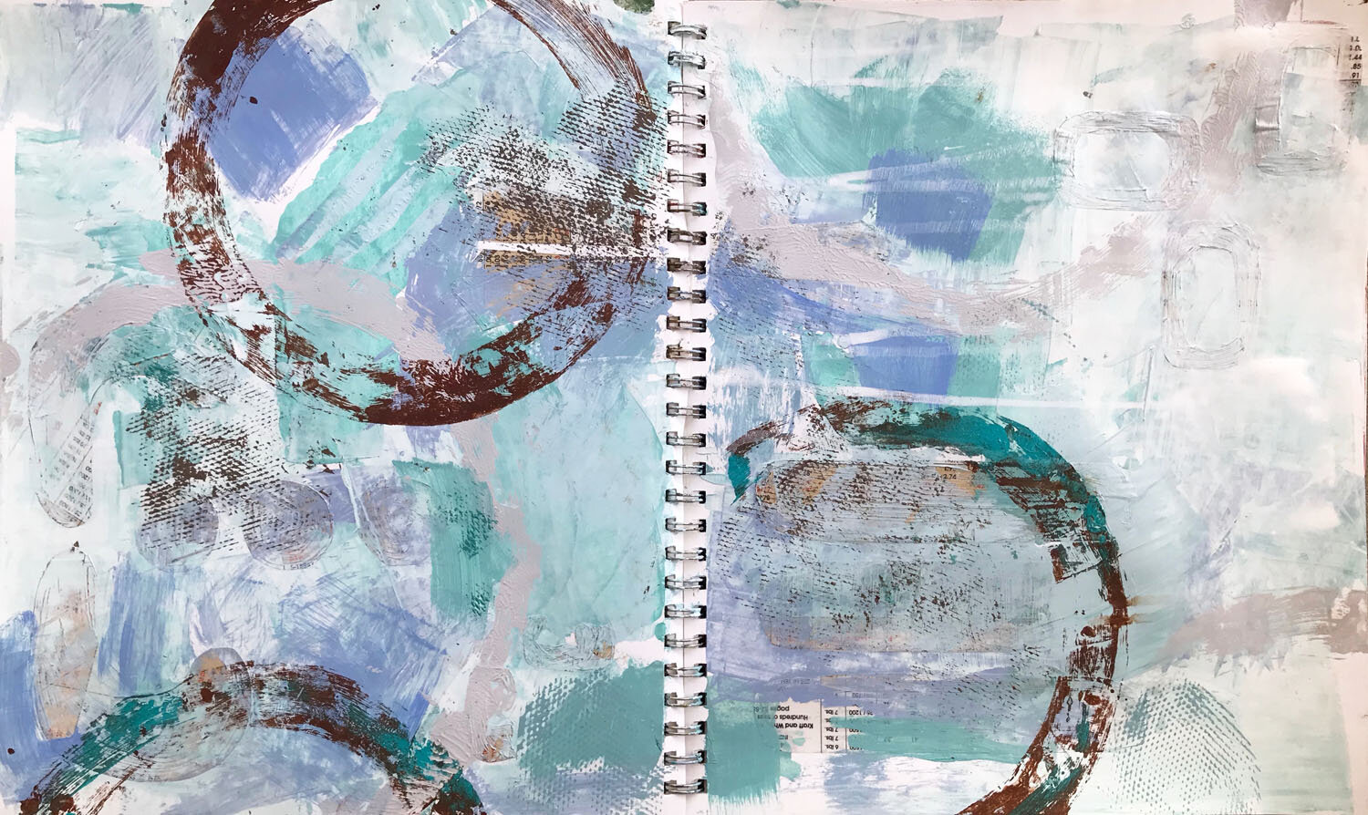 """Three collage circles add texture to the top right. Large """"printed"""" circles provide contrast."""