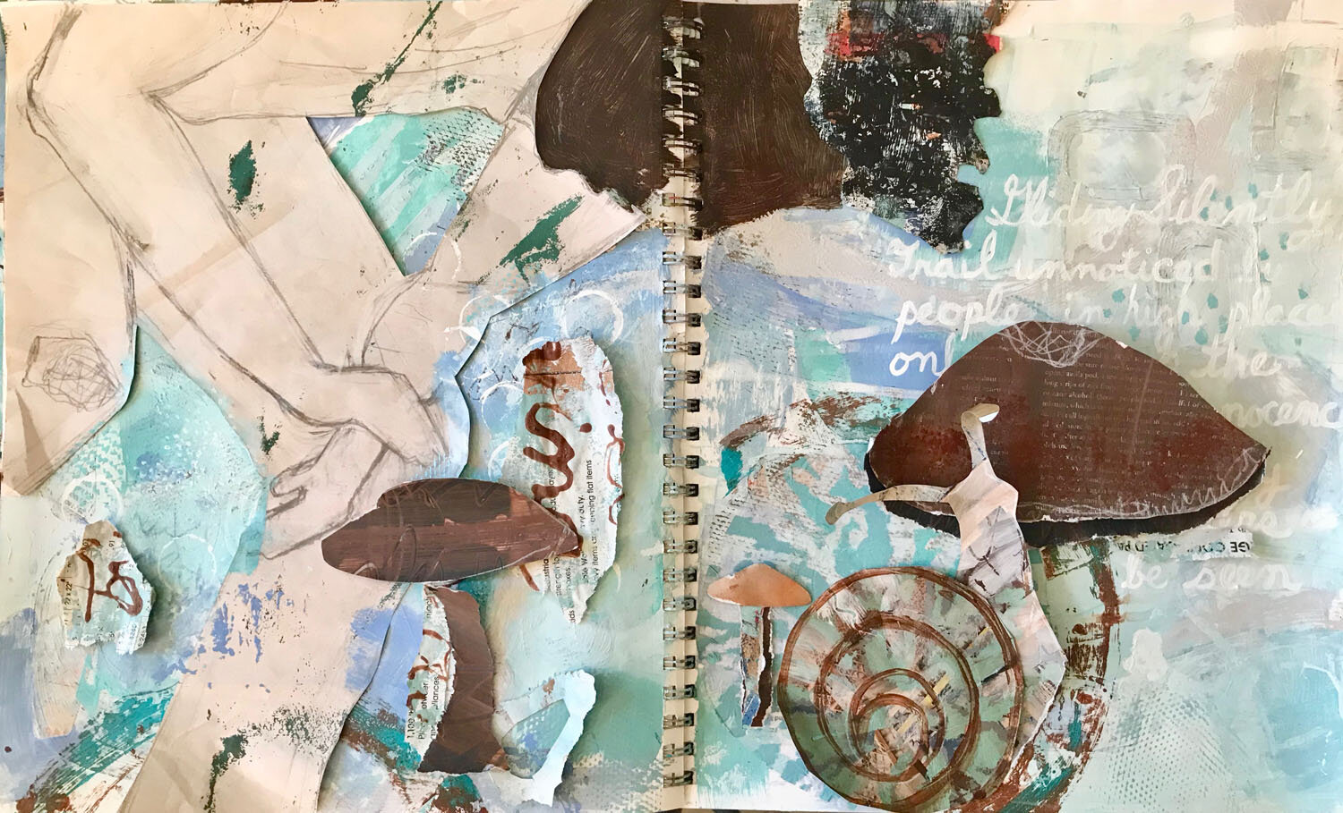 I soften a few chaotic sections of the background. Mushrooms, snail, and the boy's hair are torn from hand painted collage paper. I use a paint marker to script my poem.