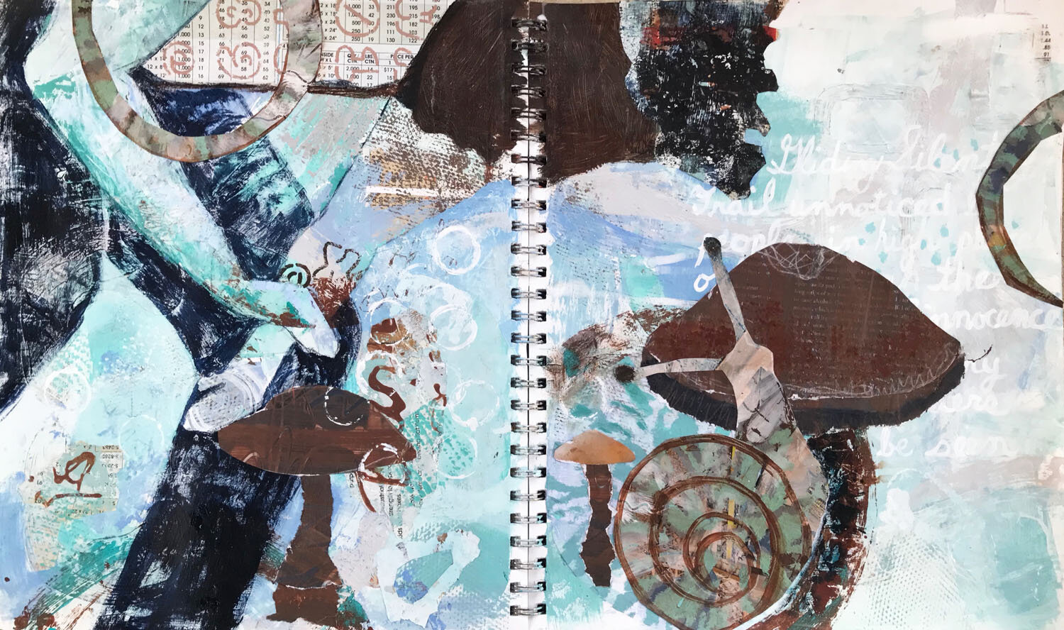 I paint the figure's pants, leaving peeps of the underlayer. Shirt: hand painted art paper. And finally, a few extra swirls of collage in circles that flow off of the edge…just because.