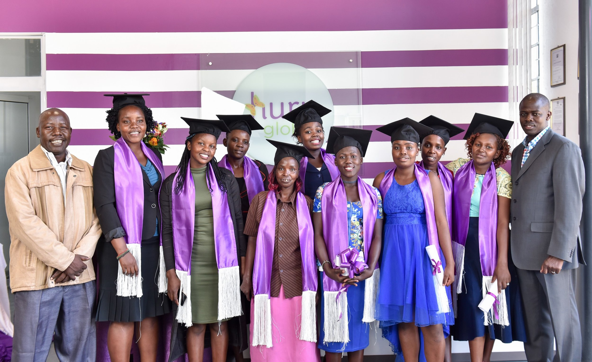 11 young women (shown here) complete Huru International's first Skills Transfer Program