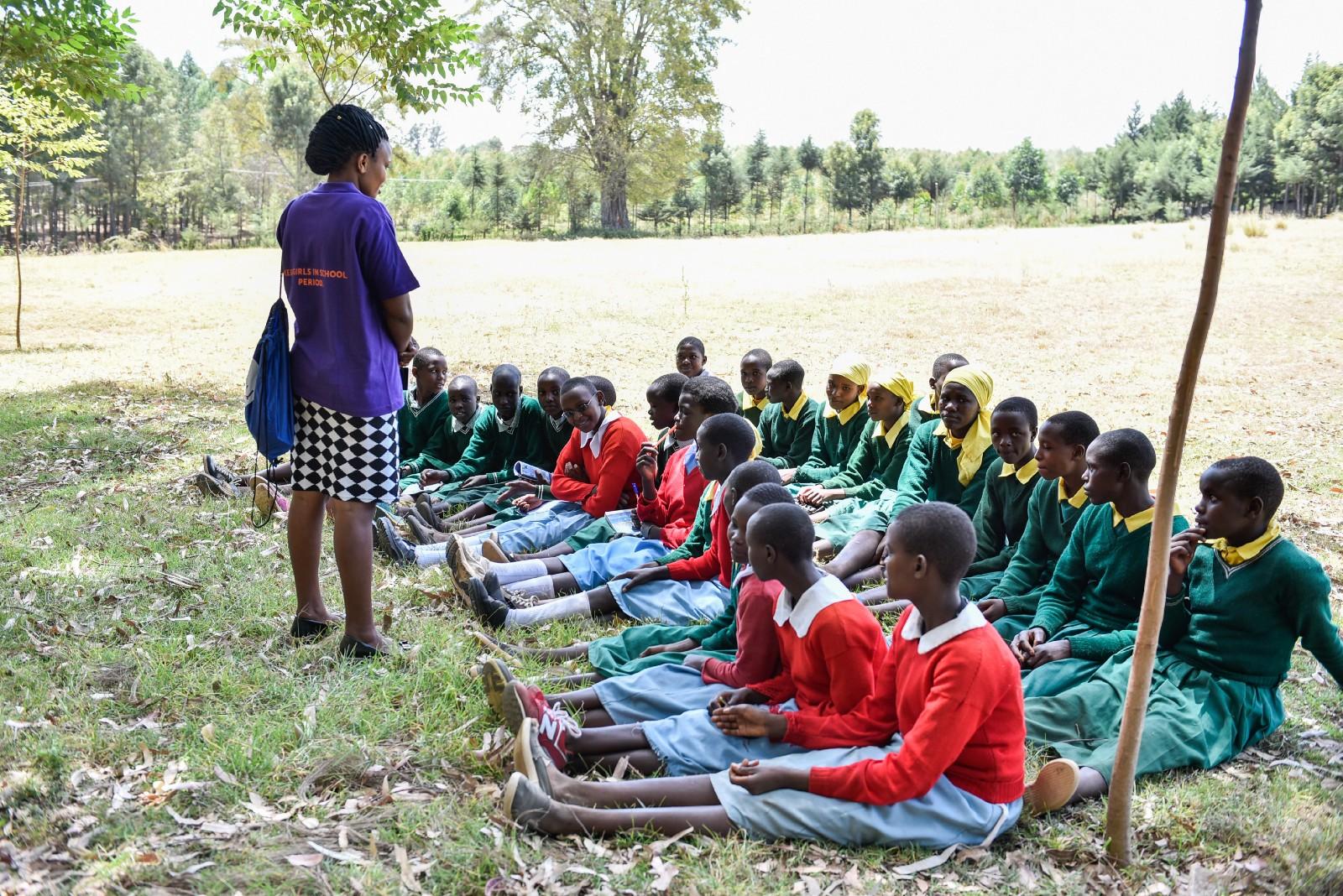Girls receiving education about menstrual & sexual health in Nairobi, Kenya