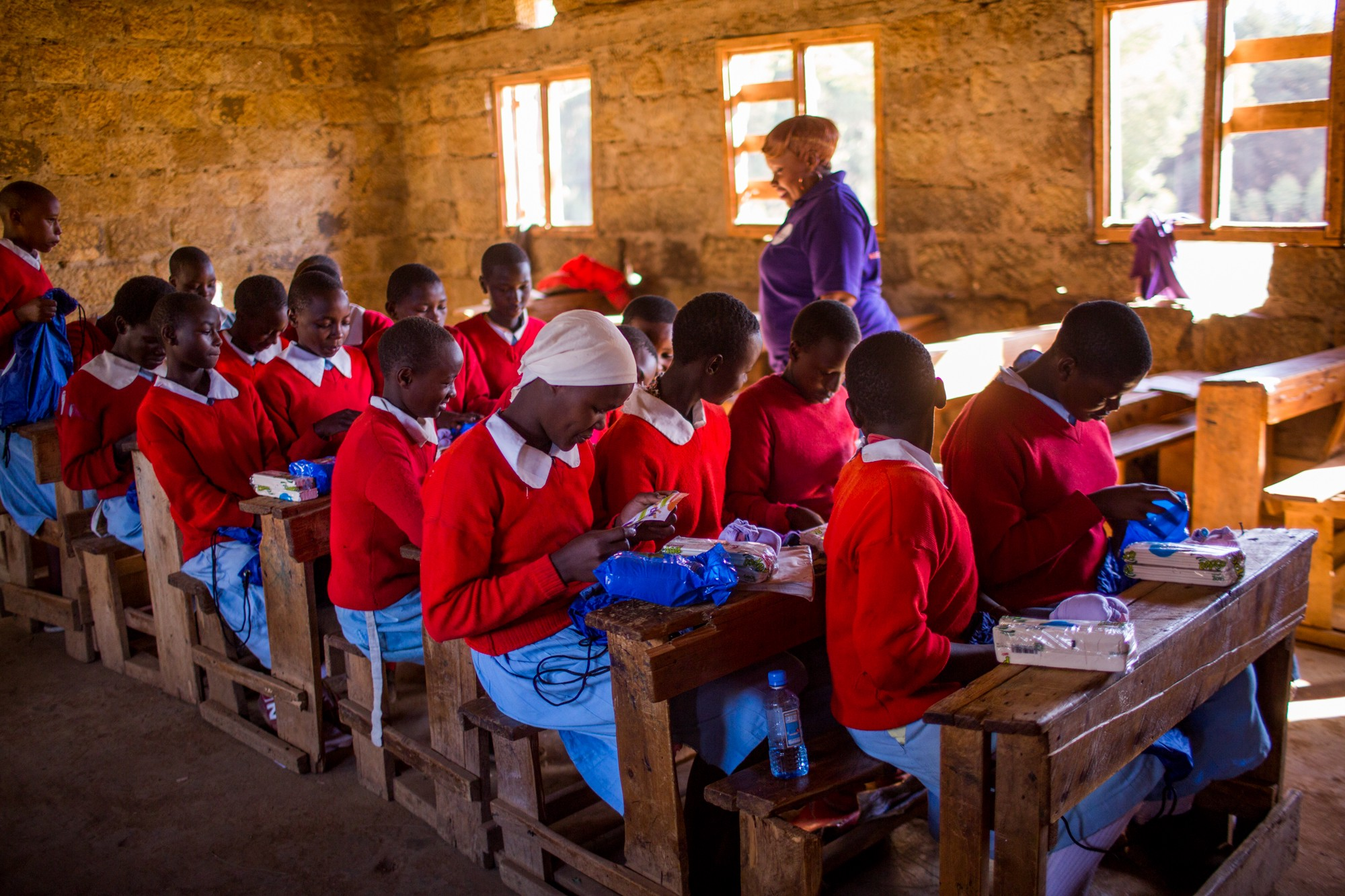 Schoolgirls in Kenya during a Huru International distribution