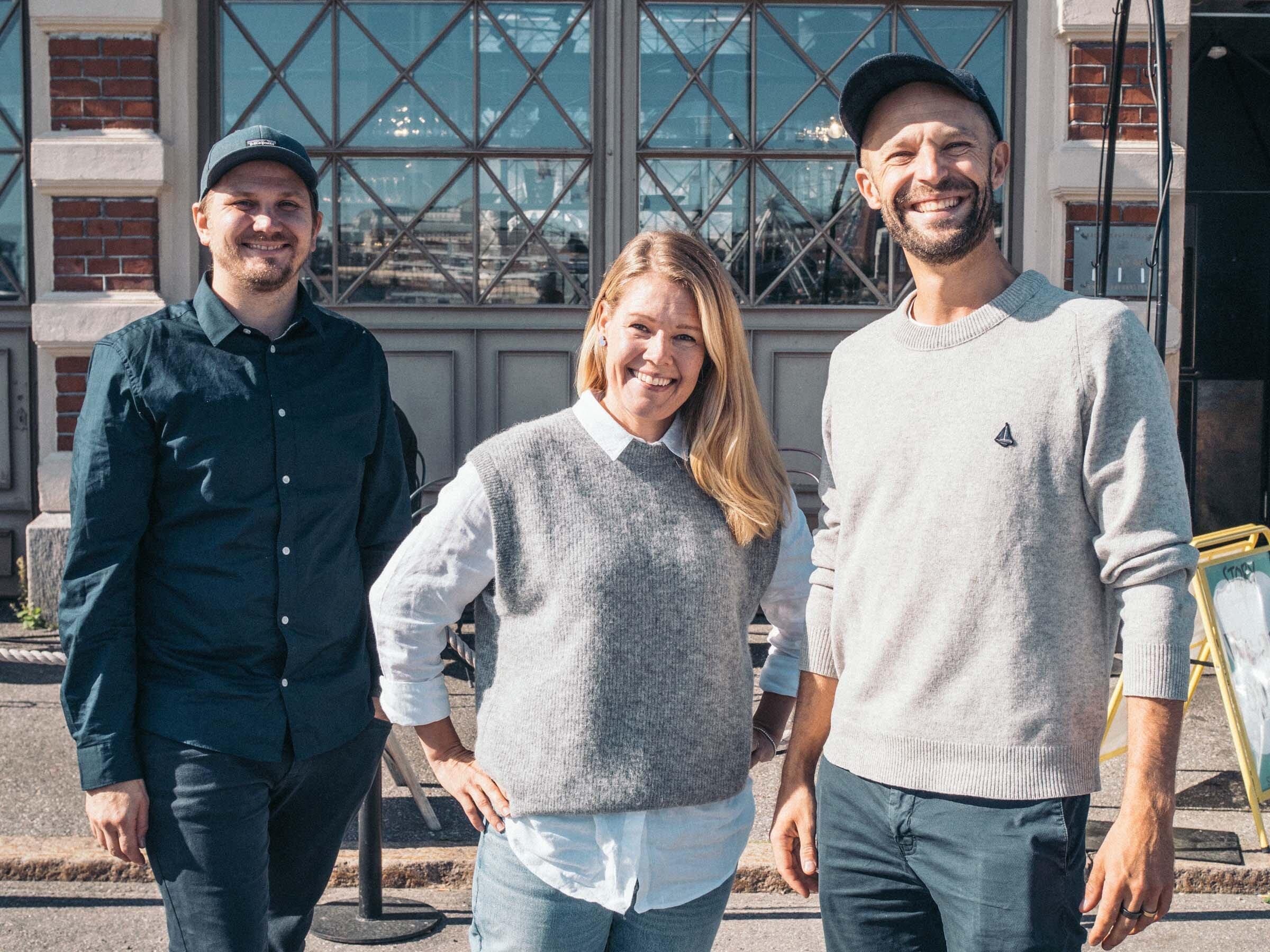 Yrittäjät Markus Hurskainen ja Anders Westerholm iloitsevat saadessaan lähteä luomaan Storyn tulevaisuutta yhdessä Hanna Riihimäen kanssa.