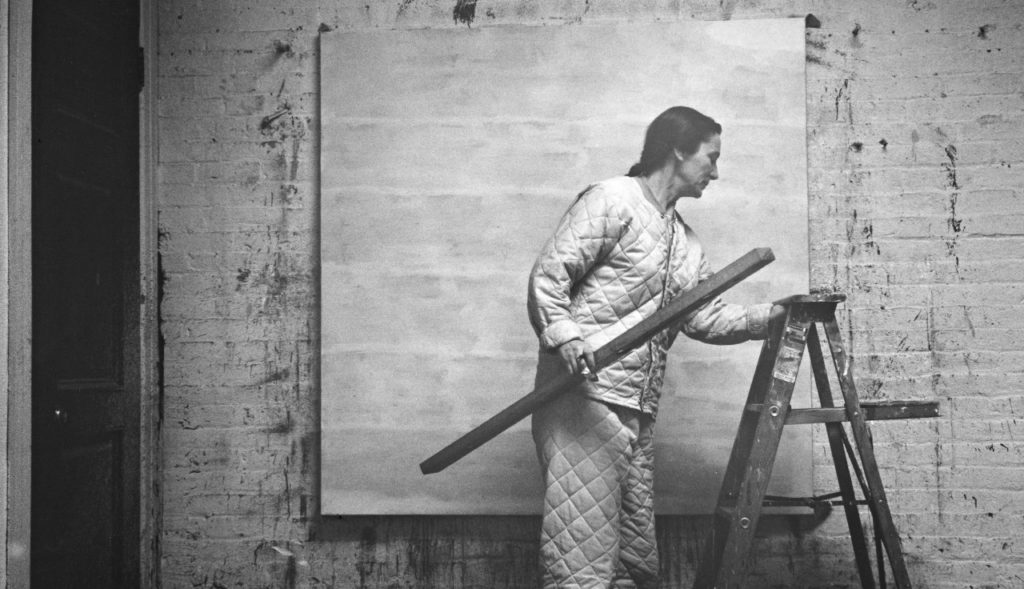 - Figure 4Agnes Martin with Level and Ladder, 1960Alexander Liberman (Ukranian, 1912-1999)Photograph archived from Getty Research Institute